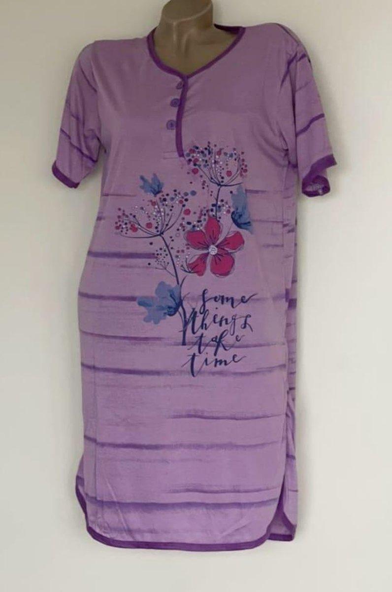 Dames nachthemd korte mouw met bloemenprint XXL paars