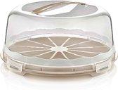 Taart bewaardoos /Taartbox/ Vershouddoos - Transparant - ROND - Kleur BEIGE / BRUIN