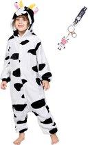 Onesie koe dierenpak kostuum jumpsuit pyjama kinderen - 128-134 (130) + GRATIS tas/sleutelhanger verkleedkleding