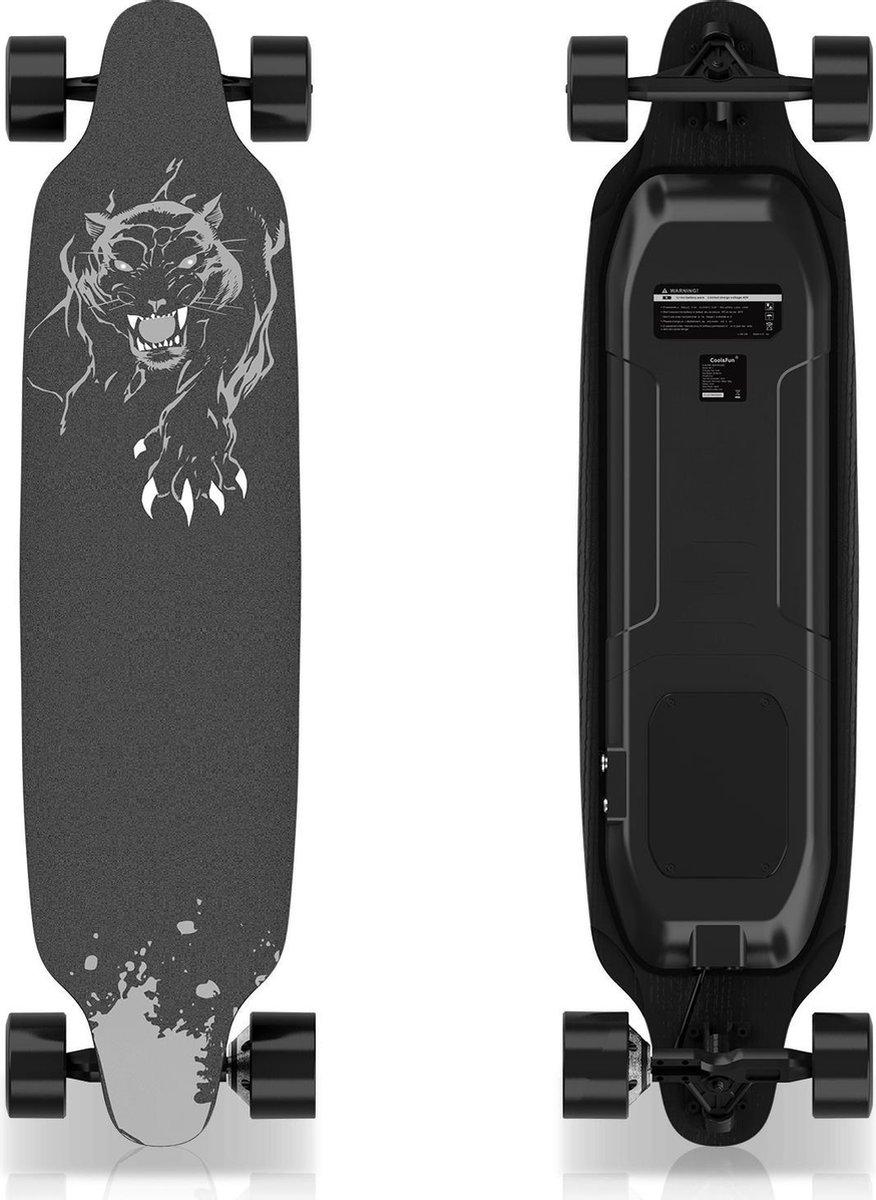 Elektrisch Longboard - Skateboard - Luipaard Zwart - 400W - met afstandsbediening - 28-32 km/u - 6.6Ah Lithium Accu