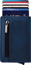 Statch Portemonnee Luxe Uitschuifbare Pasjeshouder van Aluminium & Leer - Creditcardhouder / Kaarthouder voor mannen en vrouwen - Anti-Skim / RFID Card Protector 7 tot 8 Pasjes - Blauw