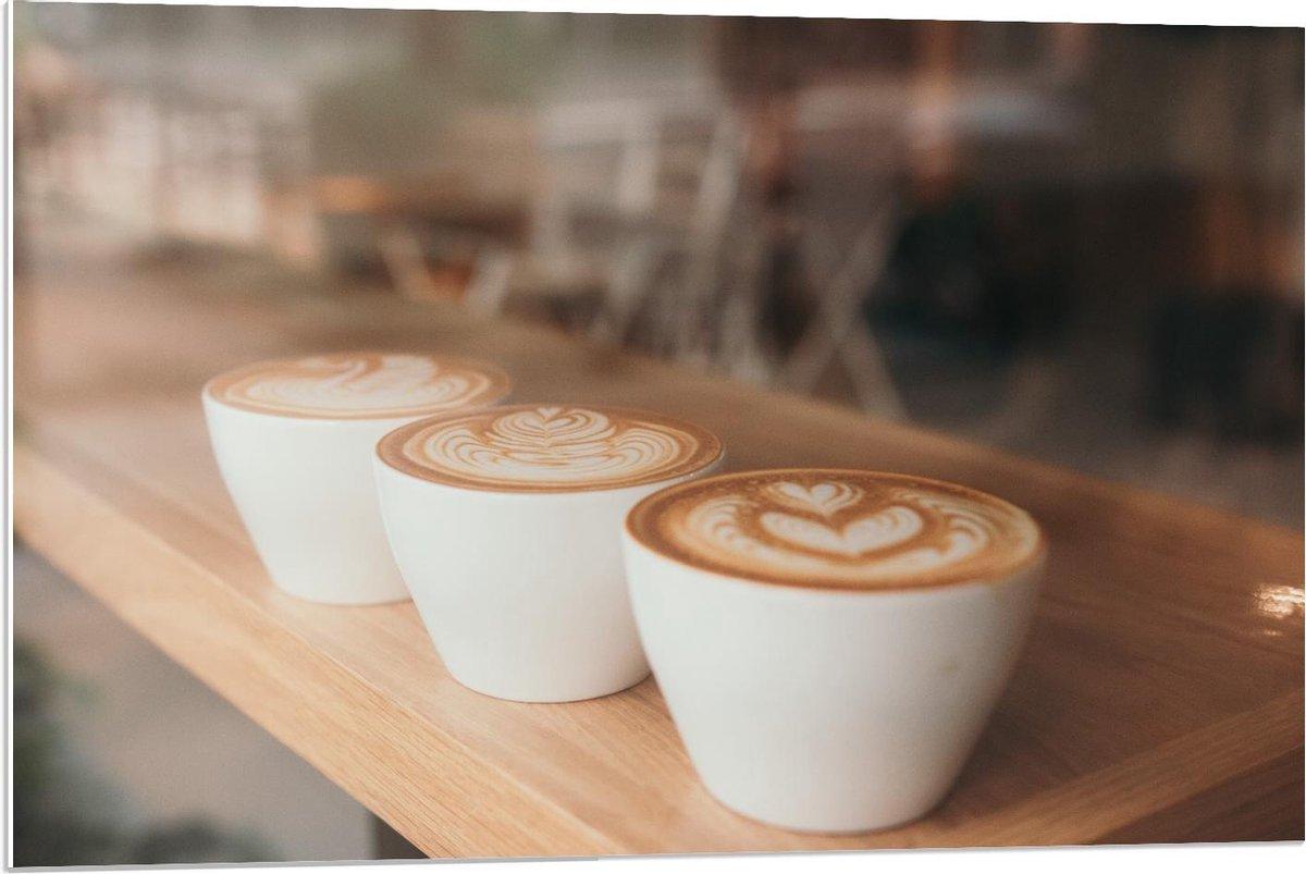 Forex - Kopjes Koffie met art - 90x60cm Foto op Forex