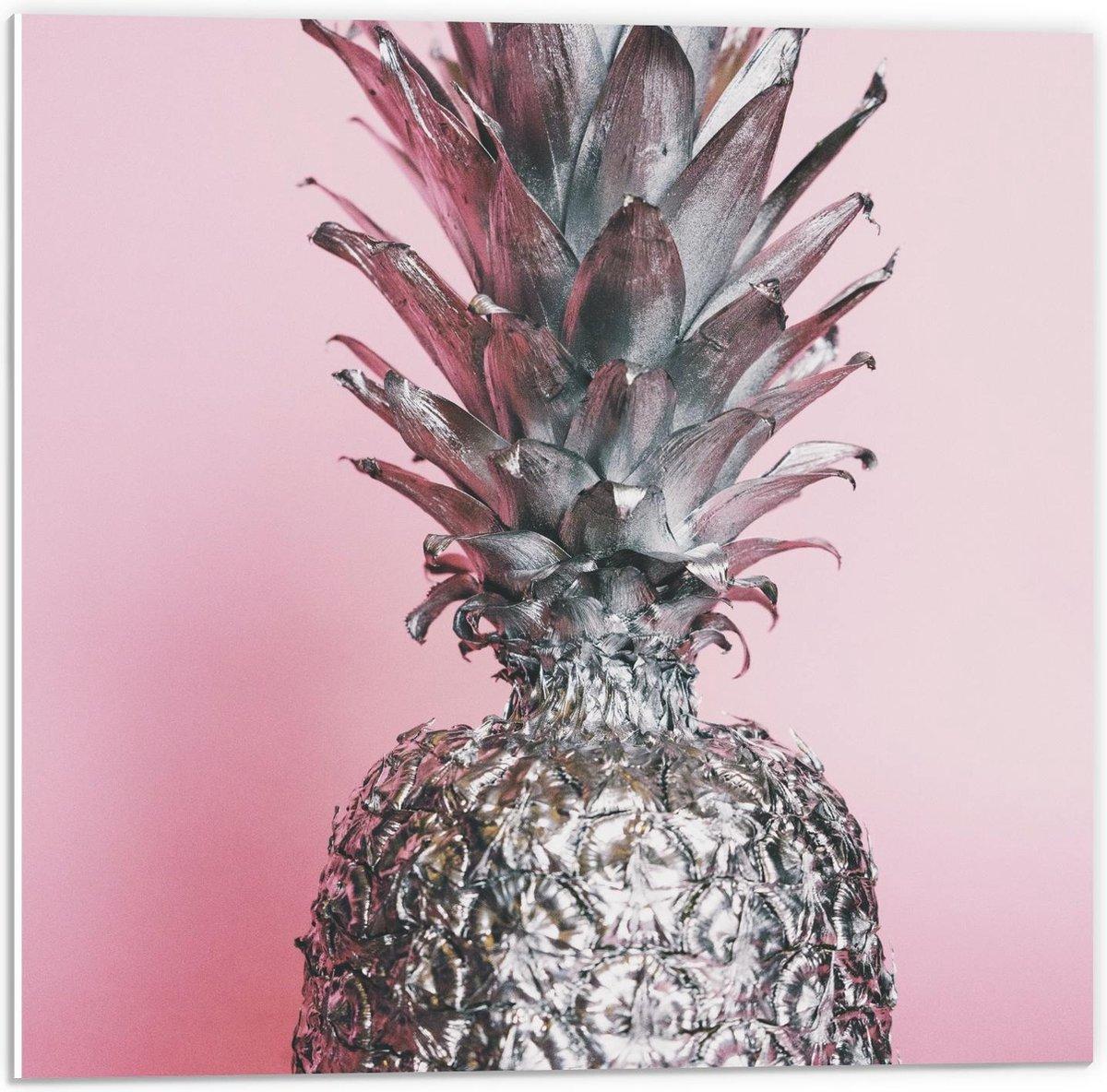 Forex - Zilveren Ananas  met Roze Achtergrond - 50x50cm Foto op Forex