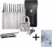 Lockpick set inclusief e-Book – Lockpickingset met transparante sloten – Lock Pickingset van 20 delen - Ventley