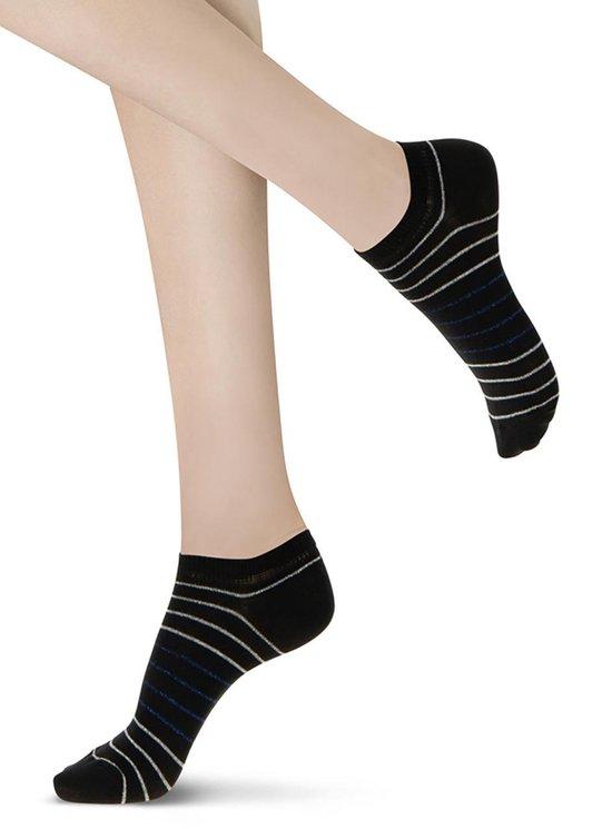 Oroblu Brighter Sneaker Sok (2 - pack) - Zwart/Blauw - One
