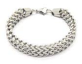Dielay - Armband Dames - Brede Schakel - RVS - Lengte 19,5 cm - Zilverkleurig