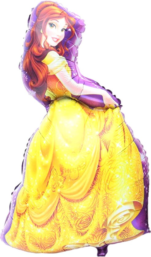 Belle Ballon - XL Groot - 93 x 55 cm - Disney - Belle en het Beest - Beauty and the Beast - Inclusief Opblaasrietje - Ballonnen - Ballonnen Verjaardag - Helium Ballonnen - Folieballon