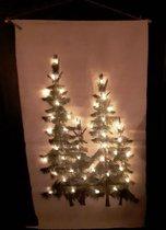 Kerstboom op canvas doek inclusief verlichting L (60x110 cm)