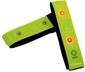 Jumalu - Gele Veiligheidsband met Rood Lichtgevende LED - Set van 2 stuks - Inclusief Batterij | Knipperend of Brandend Licht | Armband |Wandelen | Sporten | Knipperende Hardloopband | Veilig Hardlopen Band