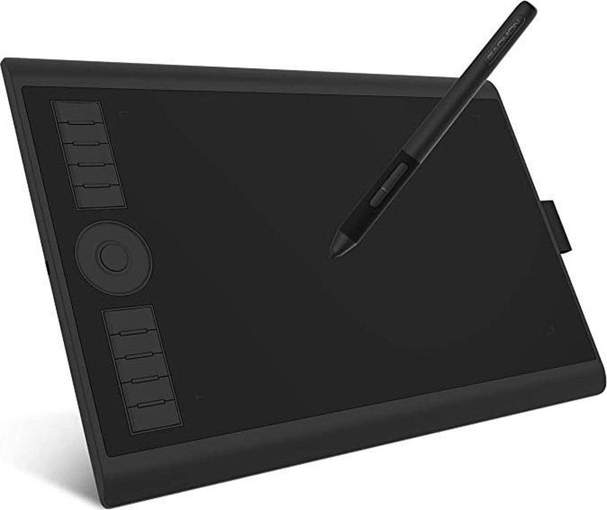 """Tekentablet - GON M10K PRO -10"""" X 6,25"""" tekentablet met AP32 Battrielvrije pen, ondersteuning OTG-functie, compatibel met Windows/Mac/Android mobiele telefoons"""