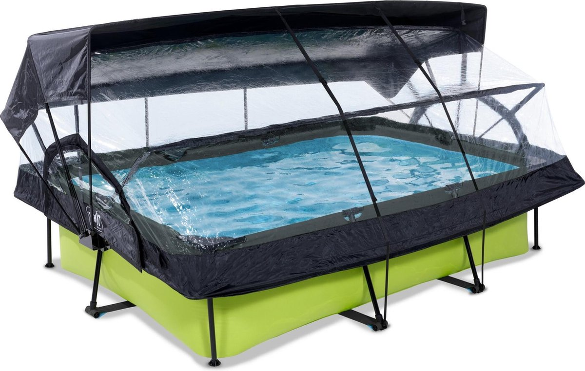 EXIT Lime zwembad 300x200x65cm met overkapping, schaduwdoek en filterpomp - groen
