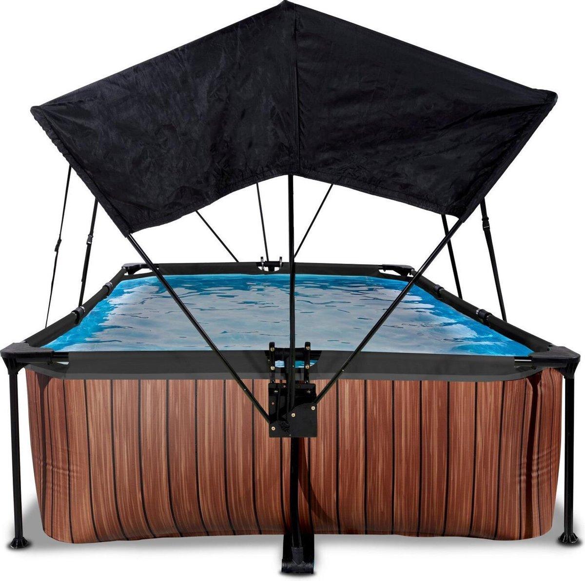EXIT Wood zwembad 300x200x65cm met schaduwdoek en filterpomp - bruin