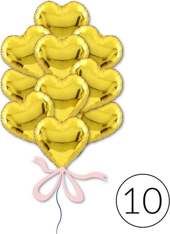 10 Ballonnen Hart Goud voor Jubileum, Verjaardag, Bruiloft | Geschikt voor Helium