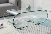Glazen Moderne transparant salontafel met wielen 90 cm