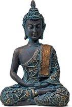 Yogi & Yogini - Boeddha Beeld - Meditatie - Antieke Finish - Thailand - 10 x 6 x 15 cm