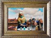 Corona Meisje met de Parel en Melkmeisje op een terras - Grappige kunst in het klein - lijstje 20x15cm