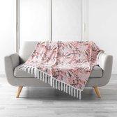 Plaid roze met bladmotief 125x150cm