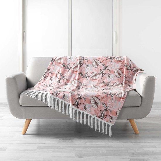 Plaid-dekens- met franjes roze125x150cm