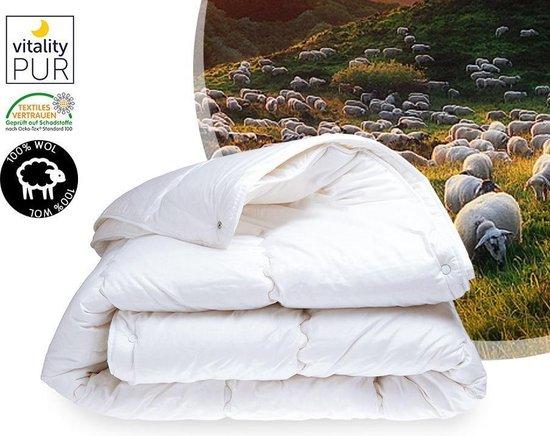 Wollen dekbed - Texel Comfort - 4-seizoenen dekbed - Tijk 100% perkal katoen - 140x220cm - Eenpersoons dekbed