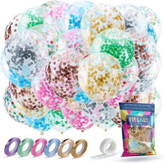 Fissaly® 40 stuks Gekleurde Papieren Confetti Helium Ballonnen met Lint – Decoratie – Latex