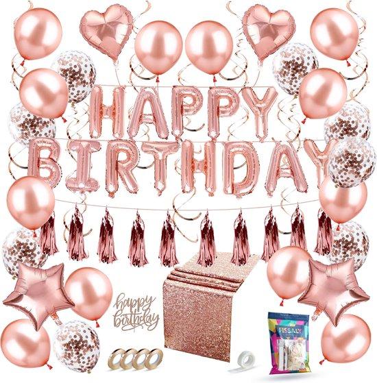 Bol Com Fissaly 58 Stuks Rose Goud Verjaardag Decoratie Versiering Met Ballonnen Papieren
