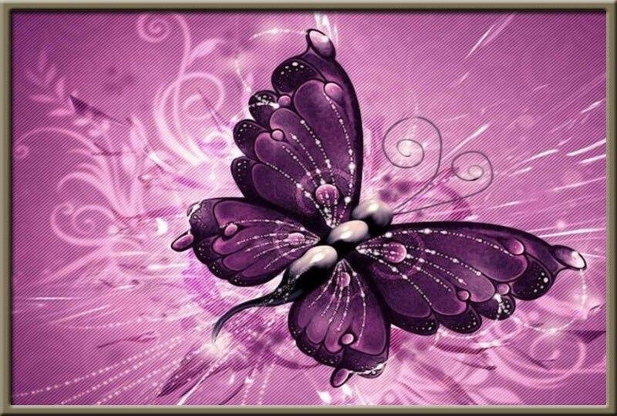 Premium Paintings - Schitterende Vlinder - Diamond Painting Volwassenen - Pakket Volledig / Pakket Full - 30x40 cm - Moederdag cadeautje