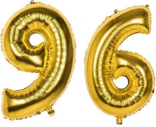 96 Jaar Folie Ballonnen Goud - Happy Birthday - Foil Balloon - Versiering - Verjaardag - Man / Vrouw - Feest - Inclusief Opblaas Stokje & Clip - XXL - 115 cm