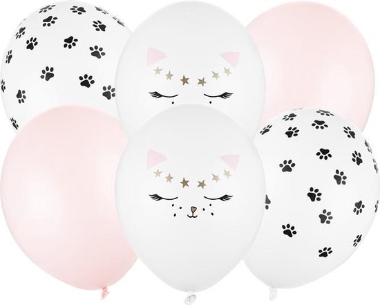 Ballonnen set 30cm kat mix, 6 stuks met leuke katten print