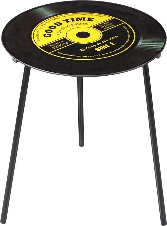Vinyl koffietafel – Geel – Uniek exemplaar voor muziekliefhebbers – Vinylplaat – 50x50cm