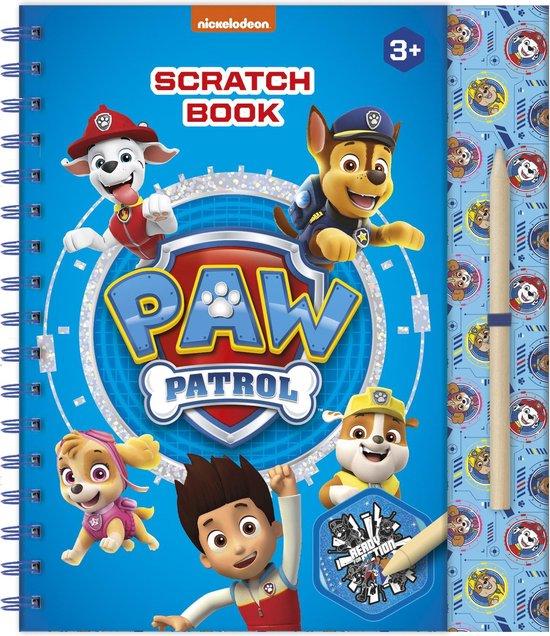 Paw Patrol kraskaarten- en tekenplatenboek incl. sjabloon, stickers, speelachtergrond en kraspen - 21 x 23,5 cm