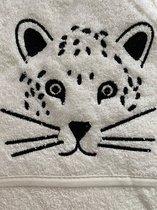 Baby handdoek met kap   WIT met tijger   75x75 cm   100% KATOEN