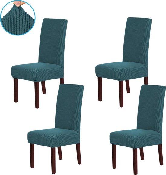 Rodus Stoelhoezen Eetkamerstoelen Stretch - 4 Stuks Stoelhoes - Effen Turquoise