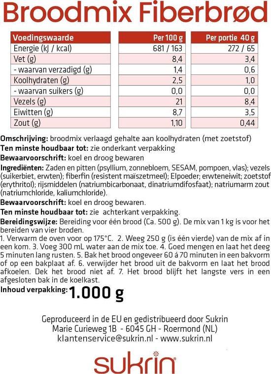 Sukrin Broodmix Fiberbrood (1kg) - Koolhydraatarm en glutenvrij brood