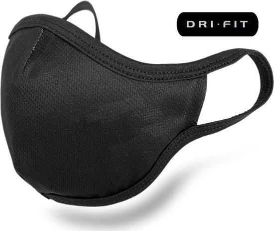 Afbeelding van Dri Fit mondkapje  -  Geschikt voor filter - 3 laags en wasbaar - Hoogwaardig kwaliteit - Niet-medische mondmasker - Face Mask - Zwart