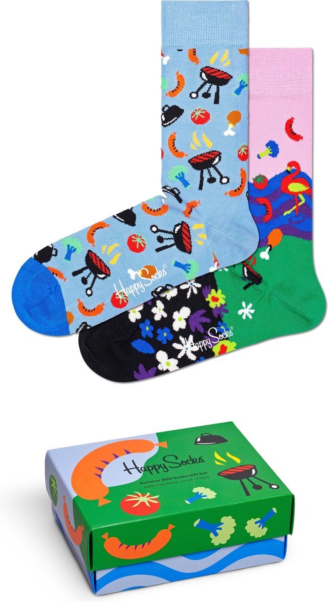 Happy Socks XSUM02-7000 Summer BBQ Two Pack Gift Box - Maat 36-40
