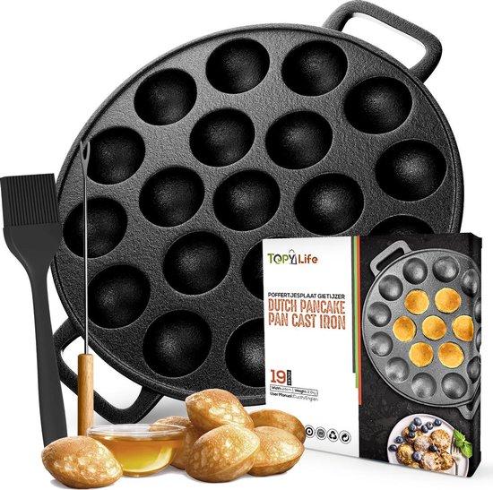 Topylife® Poffertjespan - Gietijzeren poffertjesplaat - 19 poffertjes - Platte onderkant -Ook voor inductie-Poffertjesmaker- Zwart