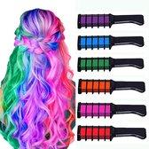 Haarkrijt - 6 Kleuren - Kleurenkam - Haarkam - Haarkrijt voor kinderen en meisjes - Haarverf - Hair Chalk - Kleuren Kam - Colored hair comb