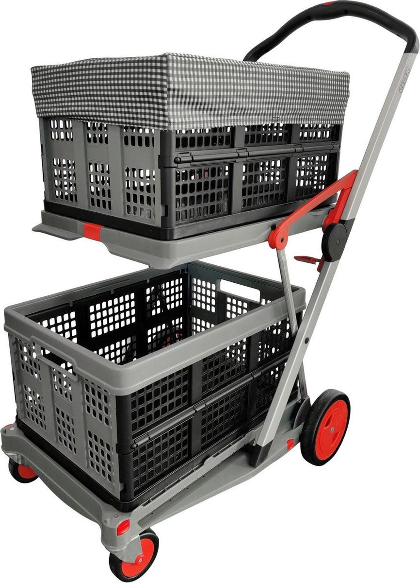 Clax opvouwbare boodschappen trolley Incl. 2 vouwkratten & krathoes   Laadcapaciteit: 60 kg