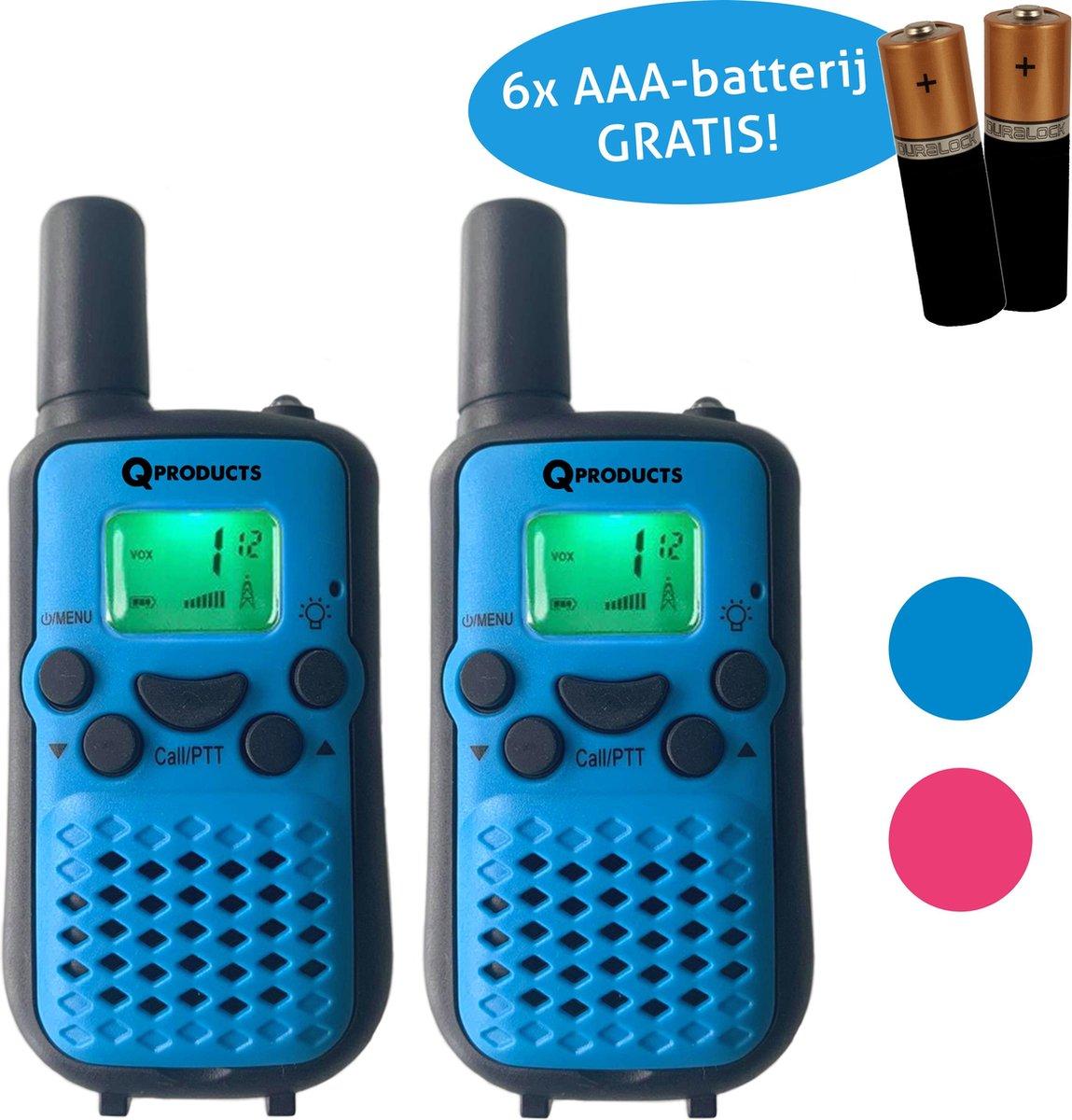 Qproducts Walkie Talkie Voor Kinderen en Volwassenen - Portofoon - Tot 5KM Bereik - Lichtfunctie - Incl 6 Batterijen - BLAUW