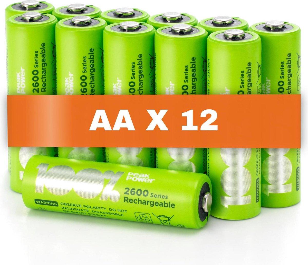 100% Peak Power oplaadbare batterijen AA - Duurzame Keuze - NiMH AA batterij mignon 2300 mAh - 12 st