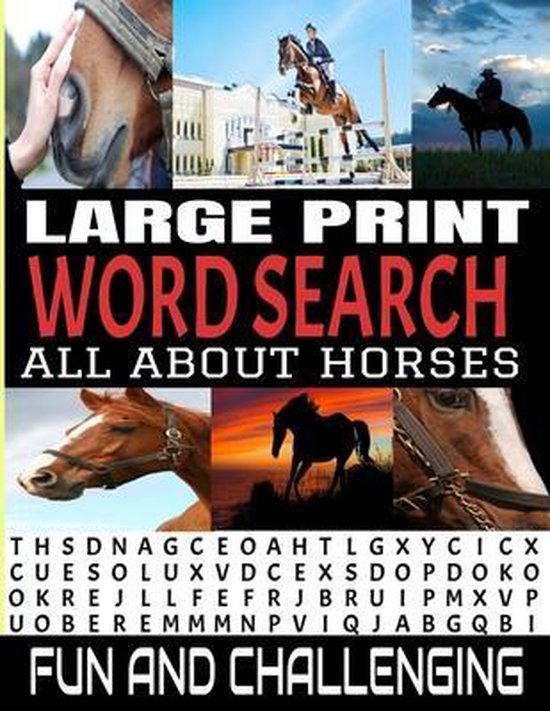 Large Print Word Search All about Horses