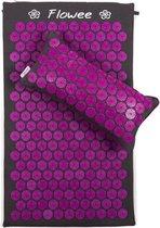 Flowee Spijkermat SET – Spijkermat met kussen - Grijs met Paars - Acupressuur mat – Acupressure mat