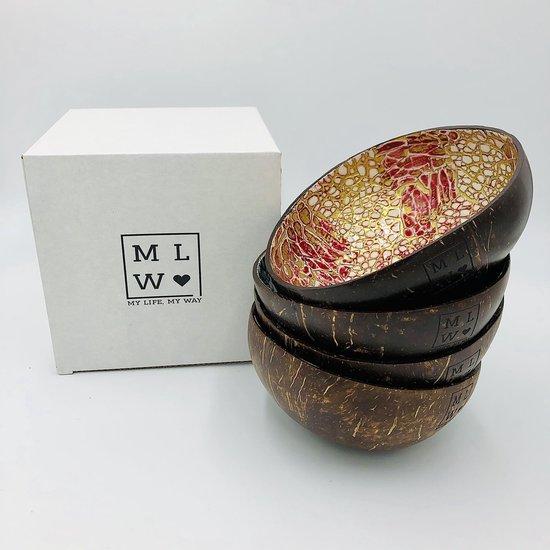 MLMW - Kokosnoot Kom Oosters Rood - Coconut Bowl Oriental Red - 650 ML - Handgemaakt - Uniek - Duurzaam - 100% Natuurlijk - Set van 4 - geschikt voor smoothie bowls, yoghurt, snacks en salades.
