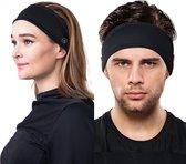 Fit Evolve® Sport Hoofdband dames en heren - Haarband - Zweetband hoofd - Sporthaarband - Zwart