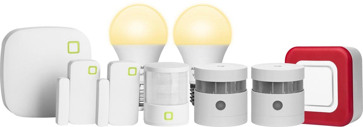 AduroSmart ERIA® Smart home zigbee security set Large - hub, draadloze contactsensor - deursensor / raamsensor, draadloze bewegingssensor, draadloze sirene / alarm, draadloze rookmelder, slimme verlichting