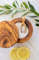 Olijfhouten Kruidenpot met lepel - Voorraadpot - Magnetische sluiting - Zoutpot - olijfhout - Duurzame keukenaccessoire