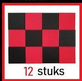 Geluidsisolatie - 12 STUKS - Zwart en Rood - Akoestisch studioschuim - Noppenschuim - 30 x 30 x 2 cm dik - Studio - Isolatieplaten - 6 x Rood - 6 x Zwart