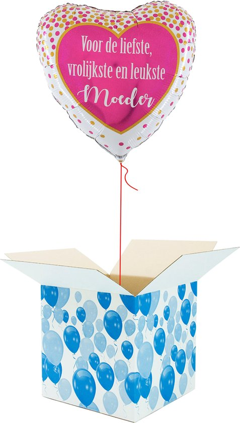Helium Ballon Hart gevuld met helium - Moederdag - Cadeauverpakking - Voor de Liefste, Vrolijkste en Leukste Moeder - Hartjes Folieballon - Helium ballonnen Moederdag