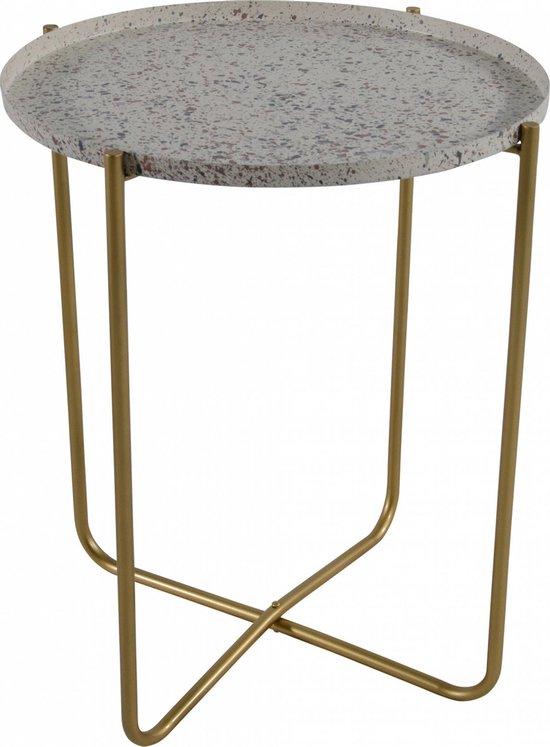 Ronde terrazzo bijzettafel/plantenstandaard creme/goud 50 cm - plantenhouder/plantentafel/oppottafel