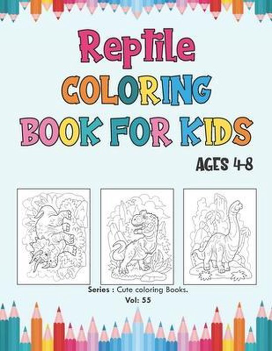 Reptile Coloring Book for Kids Ages 4-8